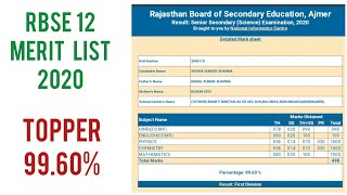 RBSE 12TH Science Results 2020 Topper List |RBSE 12th Science Topper 2020 Shyam Sundar Sharma 99.60%