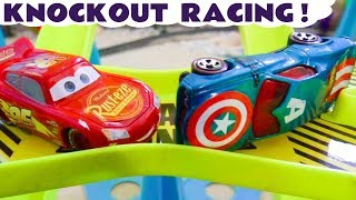 Cars Lightning McQueen knockout racing with the Hot Wheels Superheroes Hulk and the Funlings  TT4U
