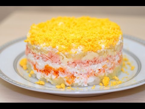 Салат Мимоза с крабовым мясом / рецепт очень вкусного авторского салата Мимоза [Patee. Рецепты]из YouTube · Длительность: 1 мин32 с