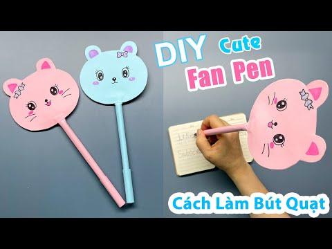 Cách làm bút quạt hình thú đơn giản | How to Make Fan Pen | Homemade Paper Fan Pen | Liam Channel