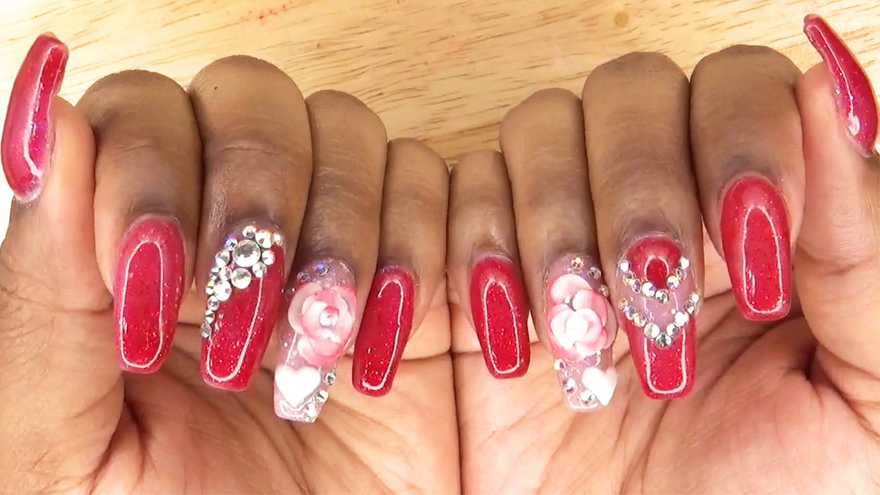 Red Glitter Nails W 3d Acrylic Rose Asp Gel Polish