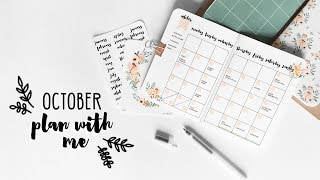 PLAN WITH ME   October 2017 Bullet Journal Setup   Travelers Notebooks   Fall Flowers
