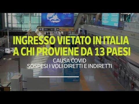 Corriere della Sera: Coronavirus, l'Italia vieta l'accesso da 13 Paesi: bloccati i passeggeri da Cile, Brasile e...