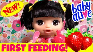 Video 👧🏻Asian Baby Alive Doll Feeding! 🍓Feeding Her Strawberry Doll Food + Potty Training! Name Reveal! download MP3, 3GP, MP4, WEBM, AVI, FLV Juni 2018