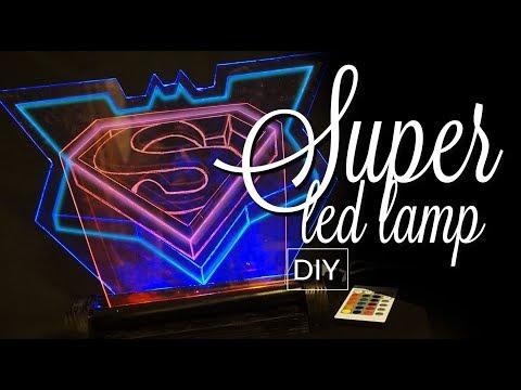 DIY 3D illusion LED LAMP v2 - superman vs batman lamp  2 colours