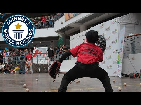 Most baseball catches in one minute (alternating hands) – Guinness World Records