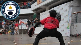 Most baseball catches in one minute (alternating hands) - Guinness World Records
