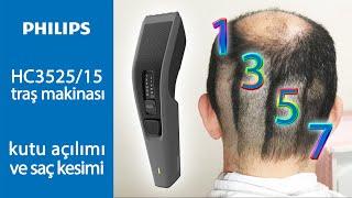 Philips HC3525/15 saç traş makinası kutu açılımı ve değişik ebatlarda saç kesimi.