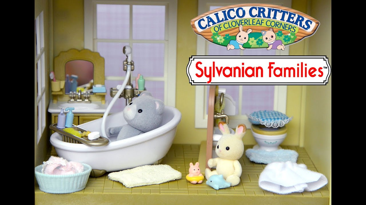 Sylvanian Families Calico Critter Country Bathroom Set Unboxing And Play Rabbit Bear Kids Toys