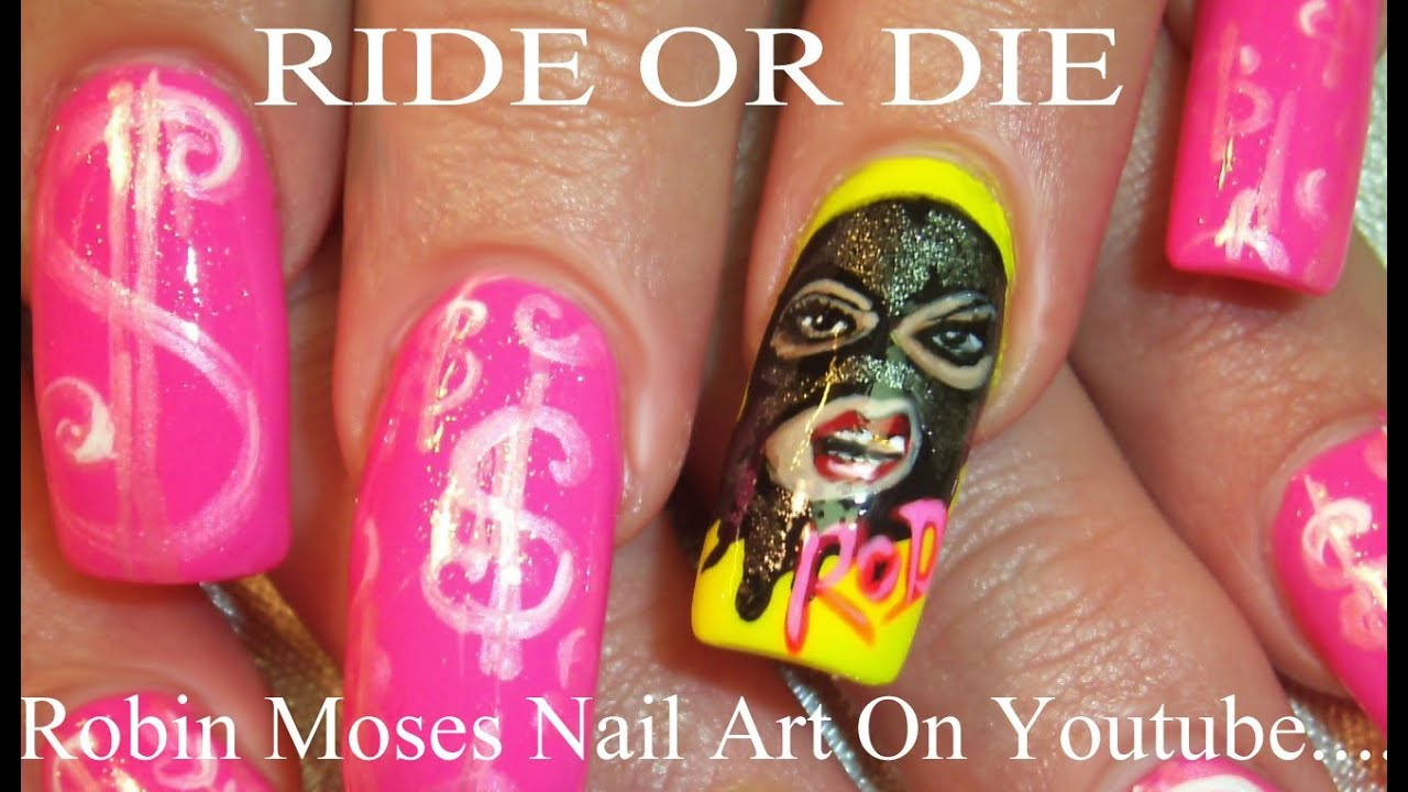 Ride or Die Nail Art | Ski Mask Girl NailsTutorial | FIERCE DIVA ...