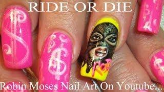 Ride or Die Nail Art   Ski Mask Girl NailsTutorial   FIERCE DIVA DESIGN