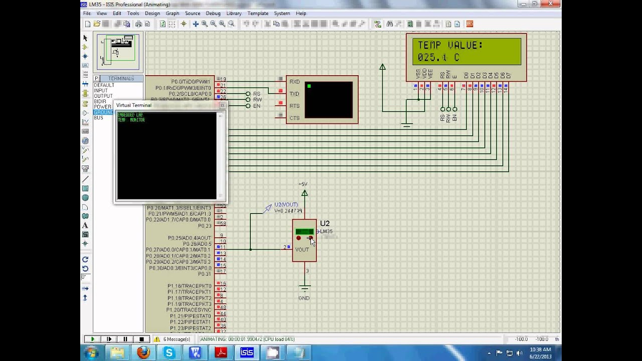 Lm35 Temperature Sensor Interfacing With Lpc2138 Alarm Op Amp Comparator