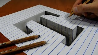 Draw a Letter T Hole on Line Paper   3D Trick Art