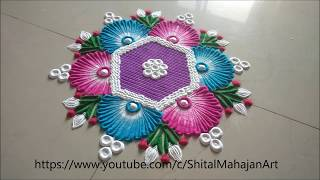 Super Easy and Beautiful Rangoli Designs Using Comb|Daily Rangoli by Shital Mahajan