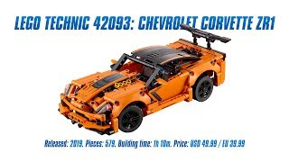 LEGO Technic 42093: Chevrolet Corvette ZR1 In-depth Review, Speed Build & Parts List [4K]