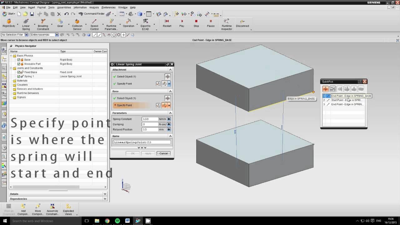 siemens nx8 5 mcd tutorial 6 spring joint youtube rh youtube com