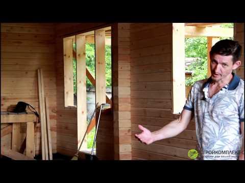 Одноэтажный дом из сухого профилированного бруса, проект 7-17-1, баня из сухого бруса