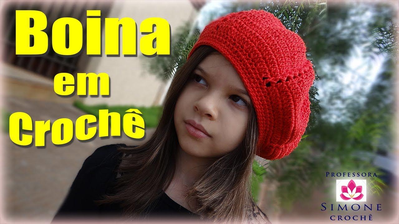 Passo a passo Boina infantil em Crochê Duna - Professora Simone - YouTube 78fc8b81ab2
