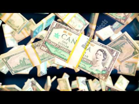 Abstract CGI motion graphics with falling canadian dollar bills