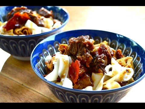 Tender Braised Beef with Star Anise on Rice Noodles | The Dumpling Sisters