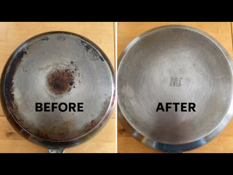 How to clean stainless steel frying pan (no dishwasher required)