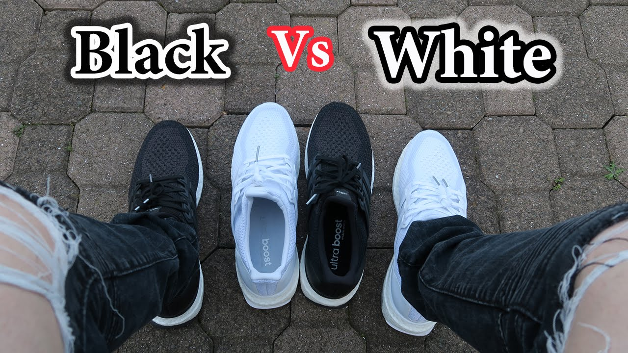 5cf807c077a19 Ultra Boost 2.0 Comparison - Black vs White On Feet and Detailed ...