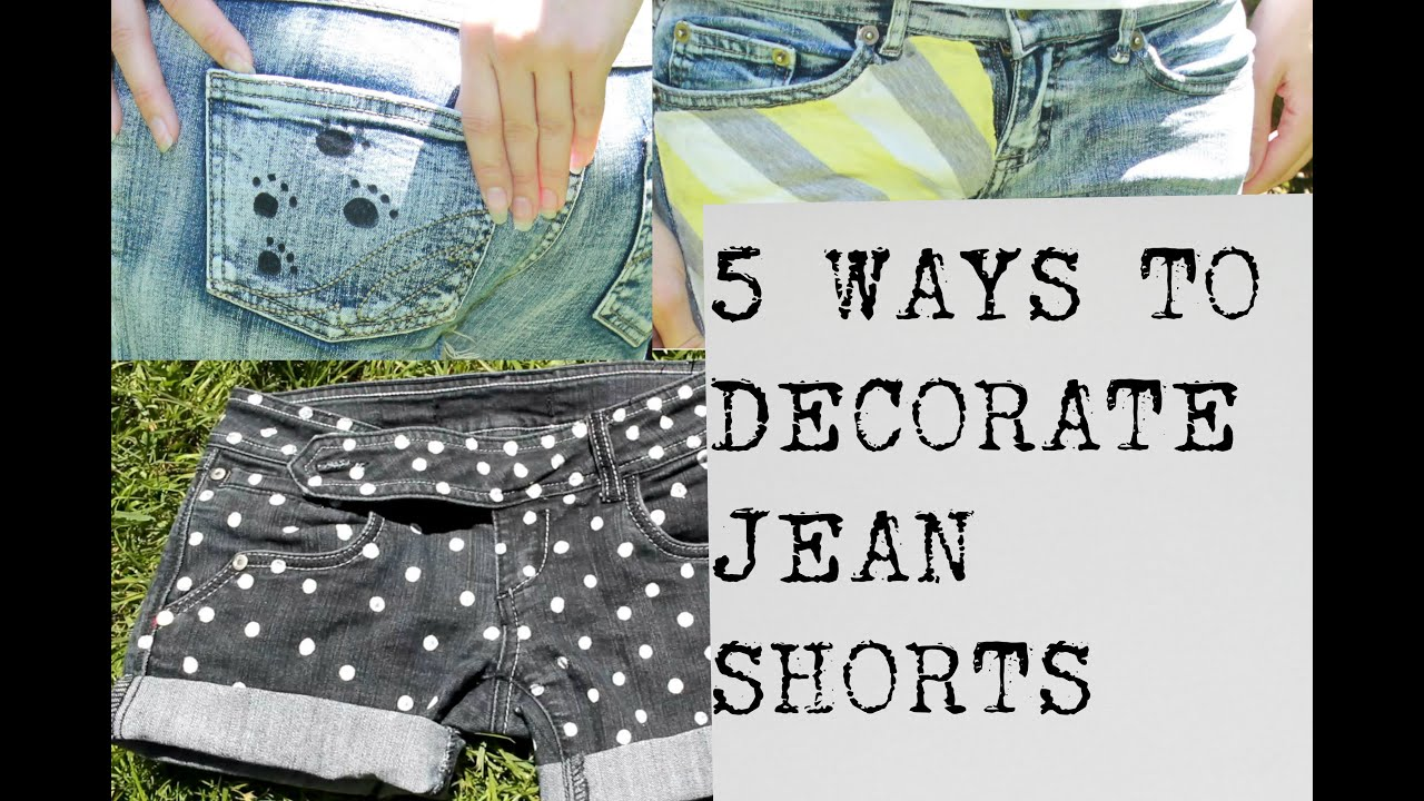 5 Easy Jean Shorts Projects Decorate Denim Shorts No Sewing