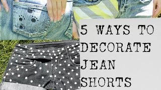5 Easy Jean Shorts Projects Decorate Denim Shorts No Sewing DIY