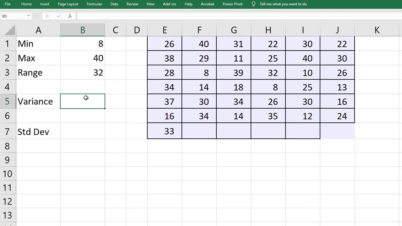Calculate Variance and Standard Deviation in Excel   Sample & Population