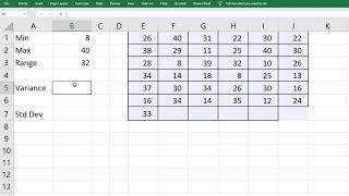 Range, Variance, Standard Deviątion in Excel