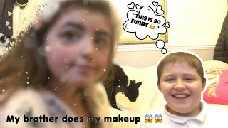 Letting My 11 year old brother do my makeup 😱😱