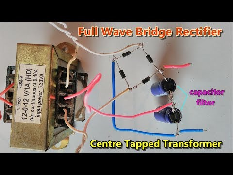 capacitor filter || full wave bridge rectifier using centre tapped  transformer | ac to dc converter - youtube