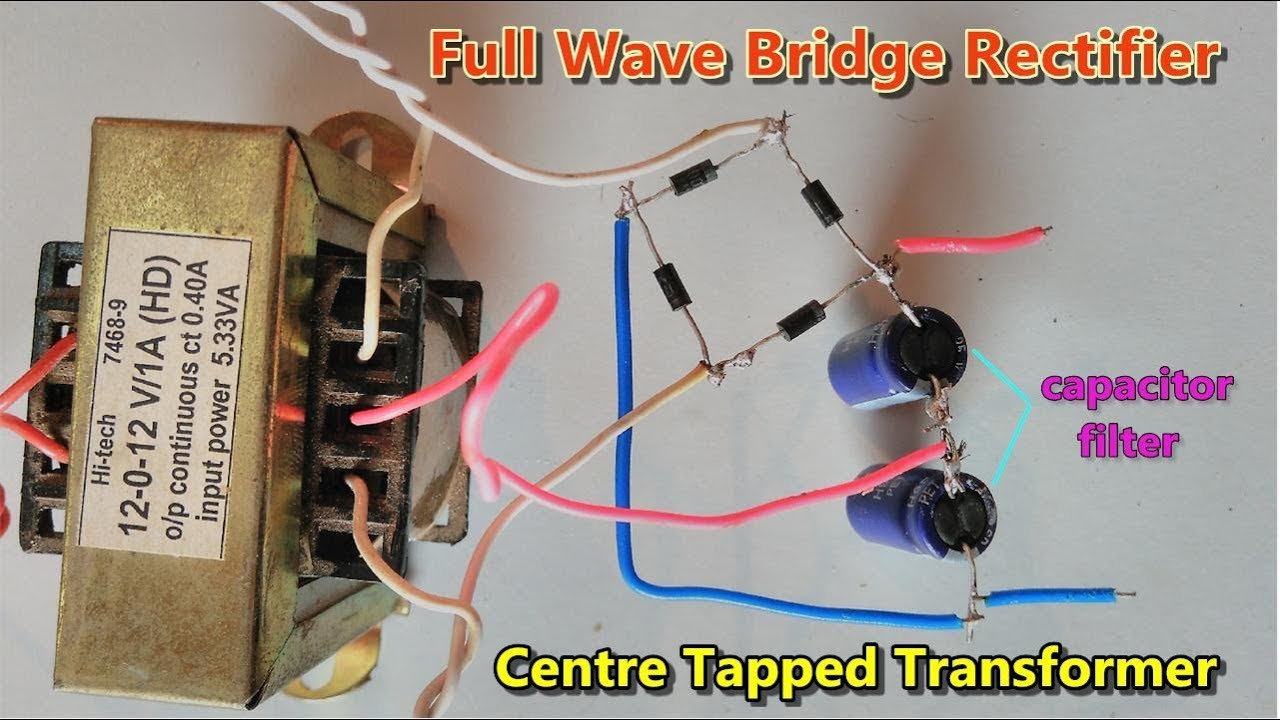 capacitor filter full wave bridge rectifier using centre tapped transformer ac to dc converter [ 1280 x 720 Pixel ]