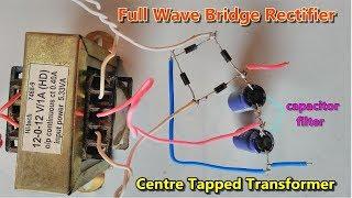 Condensator Filter || Full Wave Brug Gelijkrichter met Behulp van het Centrum Tikte Transformator | AC-DC converter
