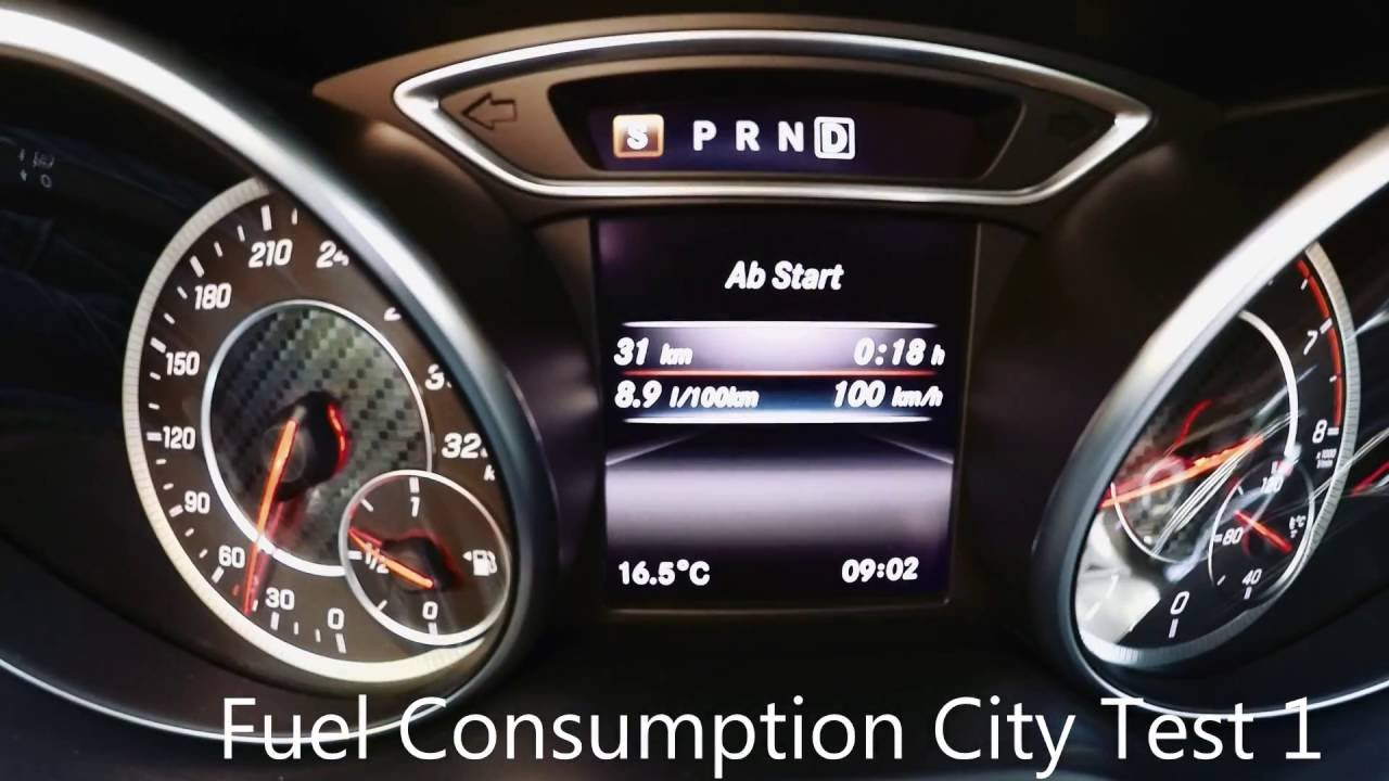mercedes a45 amg fuel consumption / verbrauch city / stadt - youtube