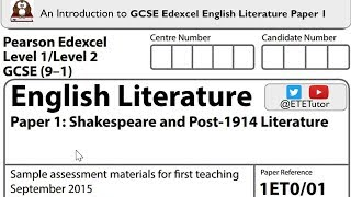 GCSE Edexcel English Literature Paper 1 -  An Introduction