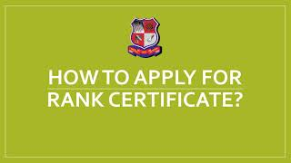 How to Apply for Rank Certificate