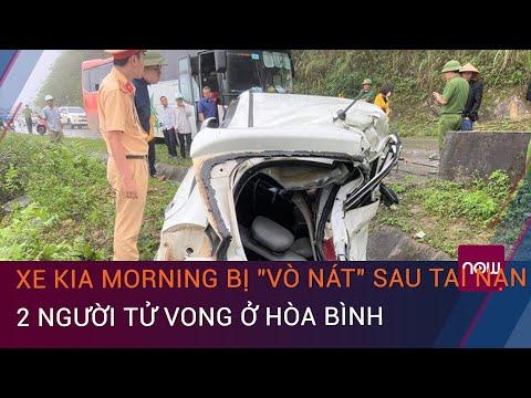 """Vụ tai nạn ô tô ở Hòa Bình: Xe Kia Morning bị """"vò nát"""" sau tai nạn, 2 người tử vong   VTC Now"""