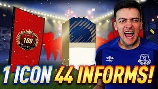 PACKED AN ICON + 44 INFORMS!! TOP 100 MONTHLY FUT CHAMPIONS REWARDS & WEEKLY PACK OPENING!!
