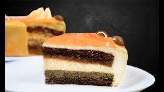 Карамельный муссовый торт с хрустящей ореховой начинкой