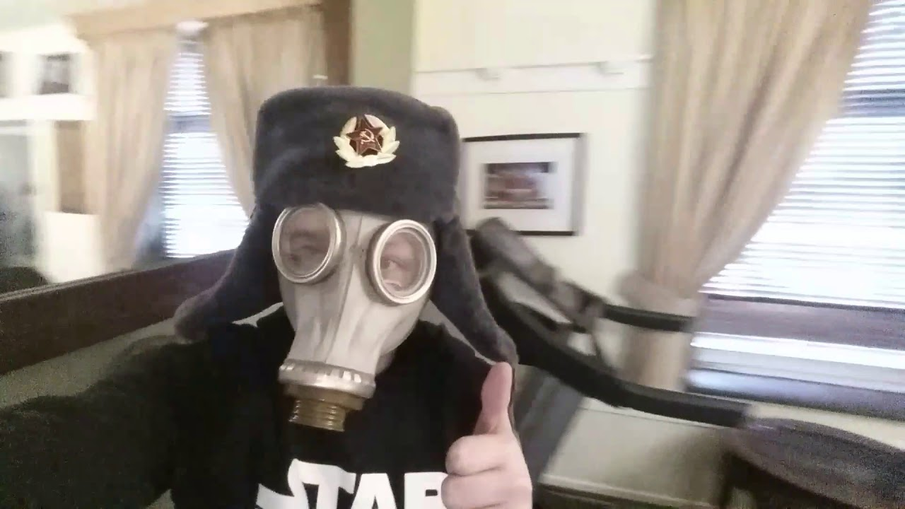 1ff6ef9df85 Me wearing the ushanka and gas mask after the failed unboxing baging video