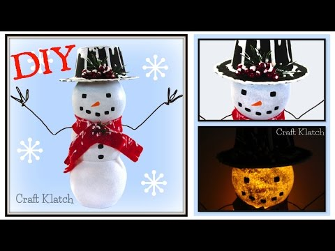 Easy Light Up Snowman | Dollar Store Craft | DIY Project | Craft Klatch | How To