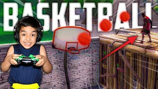 5 YEAR OLD LITTLE BROTHER ATTEMPTS TO SCORE A BASKETBALL IN FORTNITE WITH NEW JUMPSHOT SKIN!
