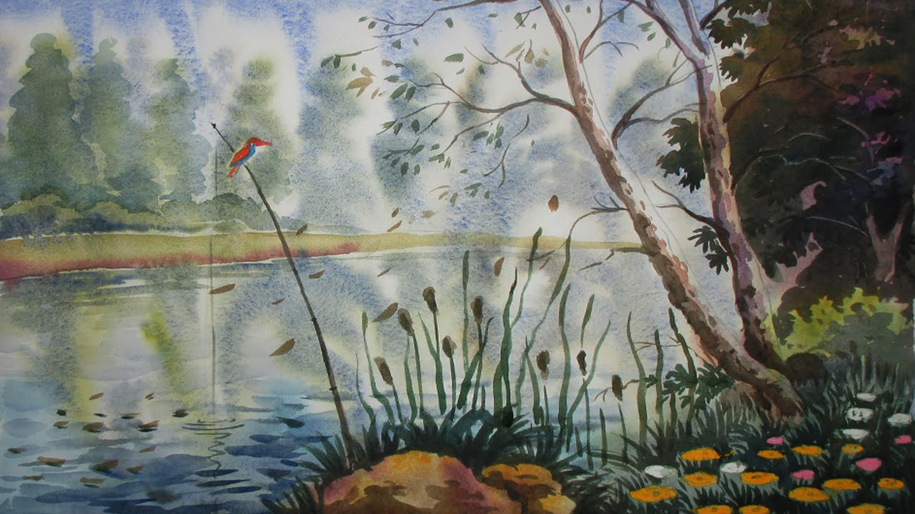 How to draw a landscape with watercolor simple jungle for Simple paintings to draw
