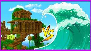 Minecraft - TSUNAMI VS TREEHOUSE BASE CHALLENGE
