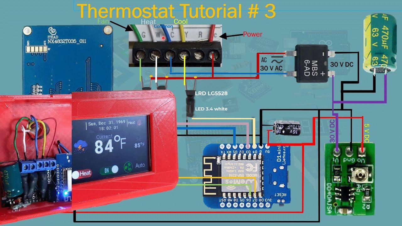 ESP8266 Thermostat HVAC   Like Google Nest   Part #3   Tutorial # 42