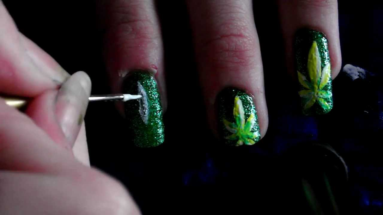 Weed Leaf nail Art Tutorial (HD) - YouTube