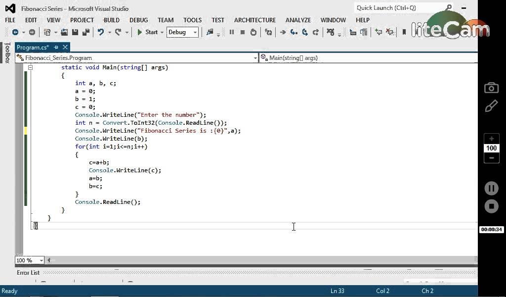 fibonacci series program in vb 2010