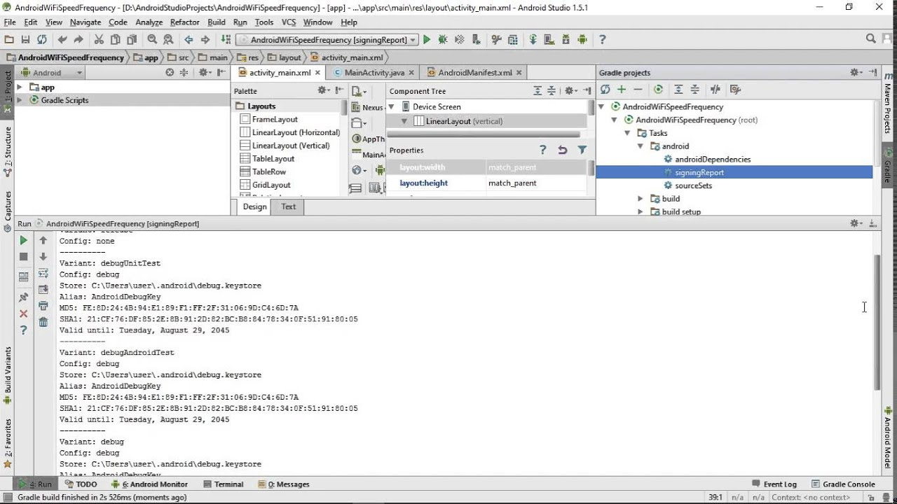 Find debug keystore and SHA1 in Android Studio