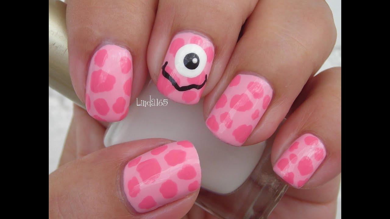 halloween nail art - pink monster